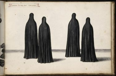 Costume designs by Daniel Rabel, dated 1632, for the ballet Chasteau Bicetre with four figures depicted as ghosts.