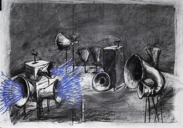 Drawing of the megaphone by William Kentridge
